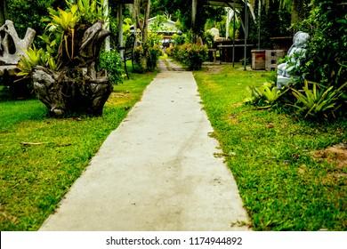 a concrete walking path in a green garden