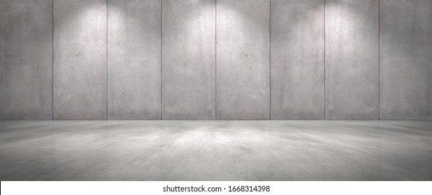 Concrete Wall Background with Floor Wide Empty Garage Scene