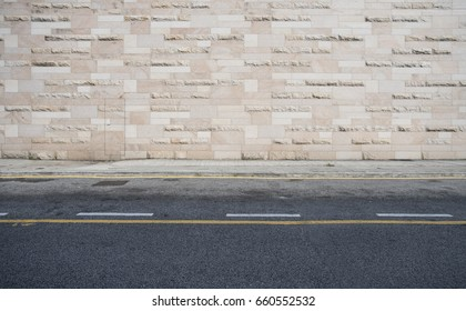 Concrete wall background, texture and yellow line