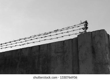 Concrete wall with barbed wire in grey tones a typically surrounds prison, country borders and private property. Background with copy space for restricted area, illegal immigration, imprisonment