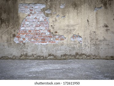 Concrete Wall with Bricks