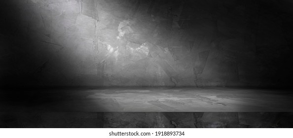 Concrete wall and floor with spotlight and shadow backgrounds, use for product display for presentation and cover banner design.
