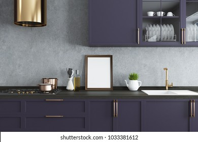 Concrete wall kitchen interior with a wooden floor and dark purple countertops. A framed vertical poster. A close up. 3d rendering mock up