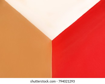 Concrete wall painting with brown, white, red colors Background.