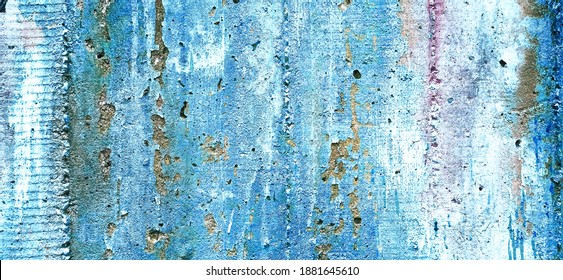 Concrete wall. Textured construction surface with rust and stains.