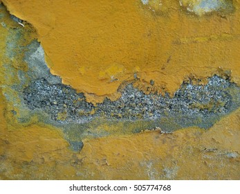 Concrete wall yellow color old for background