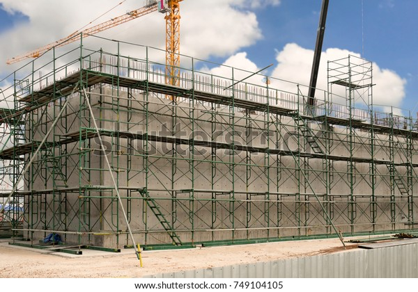 Concrete Water Tank Industry Construction Site Stock Photo