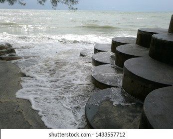 Concrete Wave Barriers, Blocks Protecting Beach Served As Viewing Stage As Well