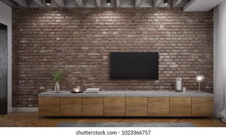 Concrete and wooden TV shelf in industrial interior - 3d render