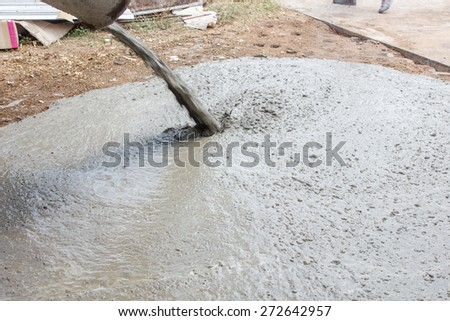 Concrete work, Pouring cement during sidewalk upgrade