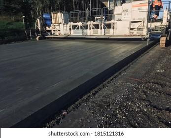 concrete-laying complex road construction. belarus, minsk, 2020