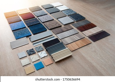 Concretes. Wood laminate. Carpets. Stanless steal. Iron Plate. Materials use for Interio designer. Home construction decorate room with luxury constructions set. Sample of products for home design.