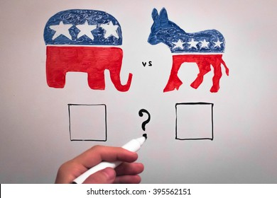 Concurrent politics concept. Democrats vs republicans elections.