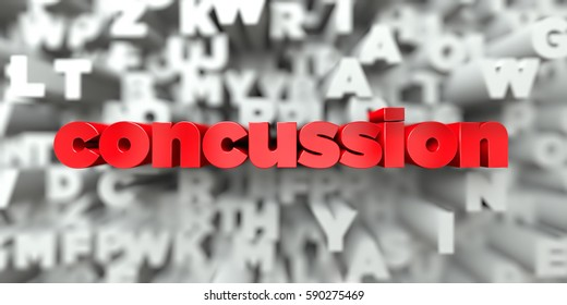 concussion -  Red text on typography background - 3D rendered royalty free stock image. This image can be used for an online website banner ad or a print postcard.
