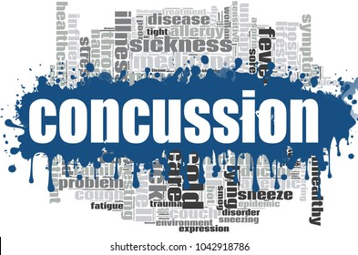 Concussion word cloud design. Creative illustration of idea word lettering typography . 3D rendering.