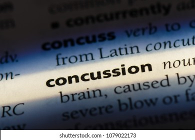 concussion word in a dictionary. concussion concept