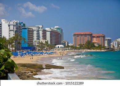 Condado beach in San Juan on Puerto Rico
