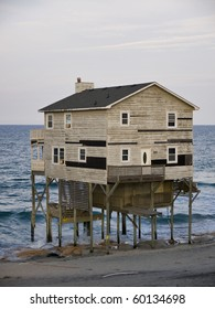Condemned home along the Atlantic Coast of North Carolina's Outer Banks.
