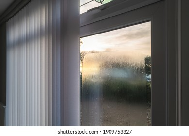 Condensation on the outside of double glazed window glass at sunrise. The window has vertical slat blinds.