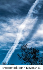 a condensation trail in the sky