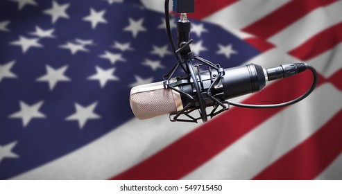 Condenser microphone against close up of the us flag