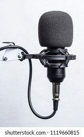 Condenser microphone in the anti vibration holder with black windscreen (windshield) isolated on white background