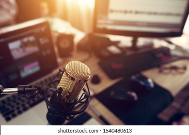 Condenser microphone golden in the studio recording creating the sound effect for the content creator
