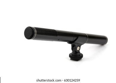 condenser microphone with holder attach for camera hot shoe on white background