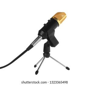 Condenser microphone with holder on white background