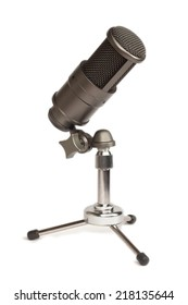 Condenser microphone on table (isolated)