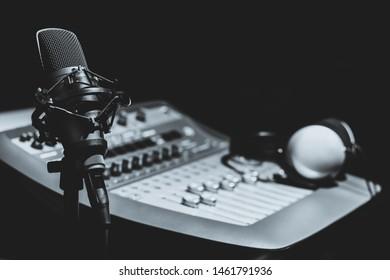 condenser microphone in recording, broadcasting studio