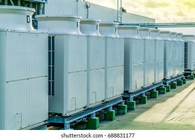 Condenser of room air conditioner. Room air conditioner compressors.