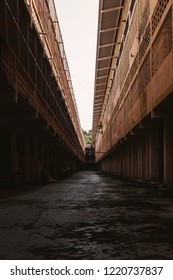 The condition of the horrible alleyways of the old building.