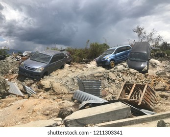 The condition of Petobo South Palu after liquefaction, earthquake that Destroyed Palu Region on 28 September 2018