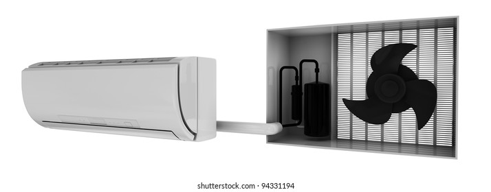 condition system simple scheme, 3d render isolated on white