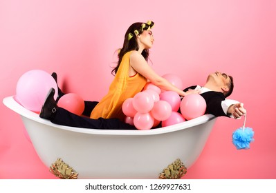 Conditioning your hair well. Couple of mime man and sexy woman enjoy bathing. Bubble bath day. Beauty routine and personal hygiene. Hair grooming routine. Bathing hygiene habits. Couple in bath tub