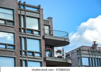 Condo buildings with balconies in Montreal downtown.