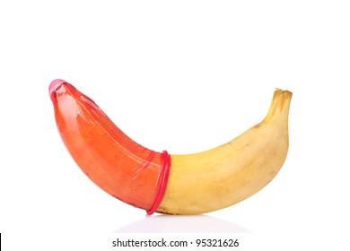 condom on banana isolated on white