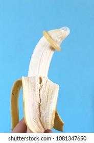 Condom on banana. Safe Sex.