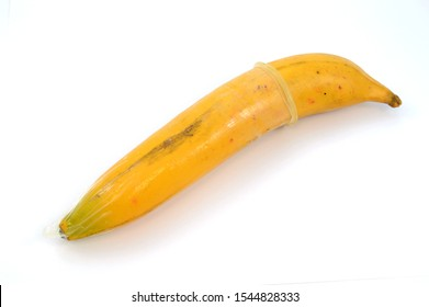 A condom is wrapped around a full size banana for sexual education purposes to a youth audience.