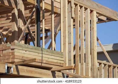 Condominium construction site framing in Los Angeles, California
