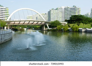 condominium near a river with trees and bridge with fountain