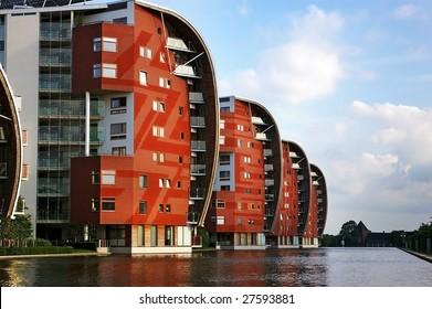 Condominium skyscraper. Abstract modern architecture in the Netherlands.