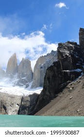 Condor nest hill and Torres del paine peaks at Torres del Paine National park in Chilean Patagonia