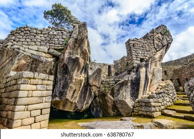 Condor temple, Machu Picchu, Peru - Ruins of Inca Empire city, amazing place of Cusco region, South America