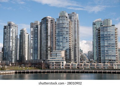 Condos on the water front on a nice sunny day.Vancouver, British Columbia