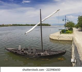 Condura Croatica, old wooden ancient ship 11 century, at Nin, Croatia