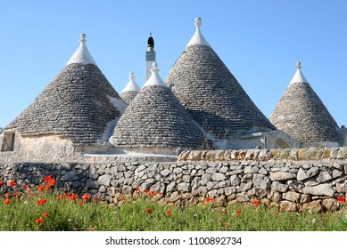 The cone shaped roofs of the traditional architecture stone trulli houses with red poppies in the foreground typical for the Valle d'Itria valley in Alberobello, Puglia, Italy.