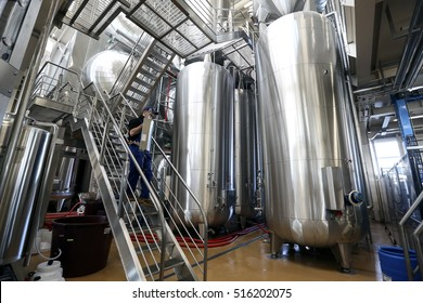 CONEGLIANO, ITALY - 6 NOVEMBER 2015: Fermenting tanks containing Prosecco wine standing at an Italian winery.