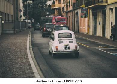 Conegliano.Italy- November 24, 2016: Vintage car rides on the road